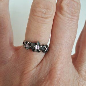Sterling Silver Ring with Pink Stones.